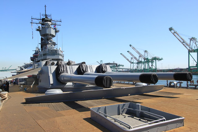 16-inch gun turrets side view onboard Battleship USS IOWA BB61 in Los Angeles, California, USA