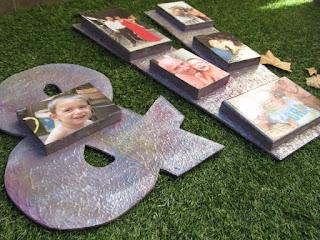 letras de madera con fotos, cuadro con fotos en madera