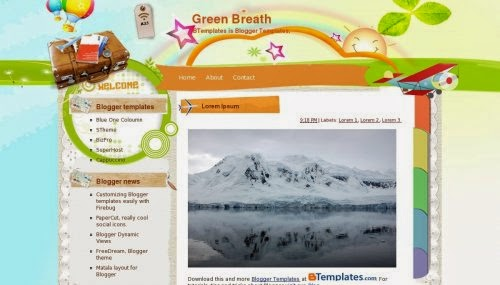 green breath love blogger template 2014 for blogger or blogspot,free download love blogger template for blogger,green template ,blue template,1 column blogger template 2014 2015