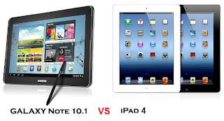سامسونج جالكسي نوت وأيباد 4  10.1 Apple ipad 4 VS SamsungGalaxy Note 10.1