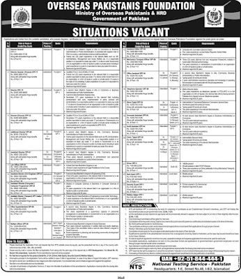 Overseas Pakistani Foundation Jobs OPF Jobs NTS