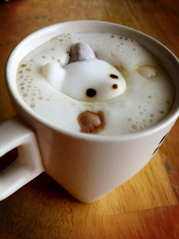 Japanese Coffee Latte with Marshmallow Animal Face