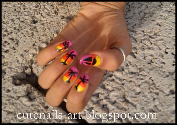 cutenails-art summer nails sunset