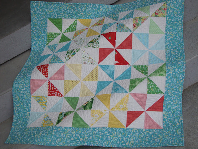 Hideaway by Moda, Pinwheels, Half Square Triangles, Baby Quilt