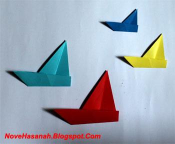 cara membuat origami yang mudah untuk anak TK, SD, dan pemula berbentuk perahu layar