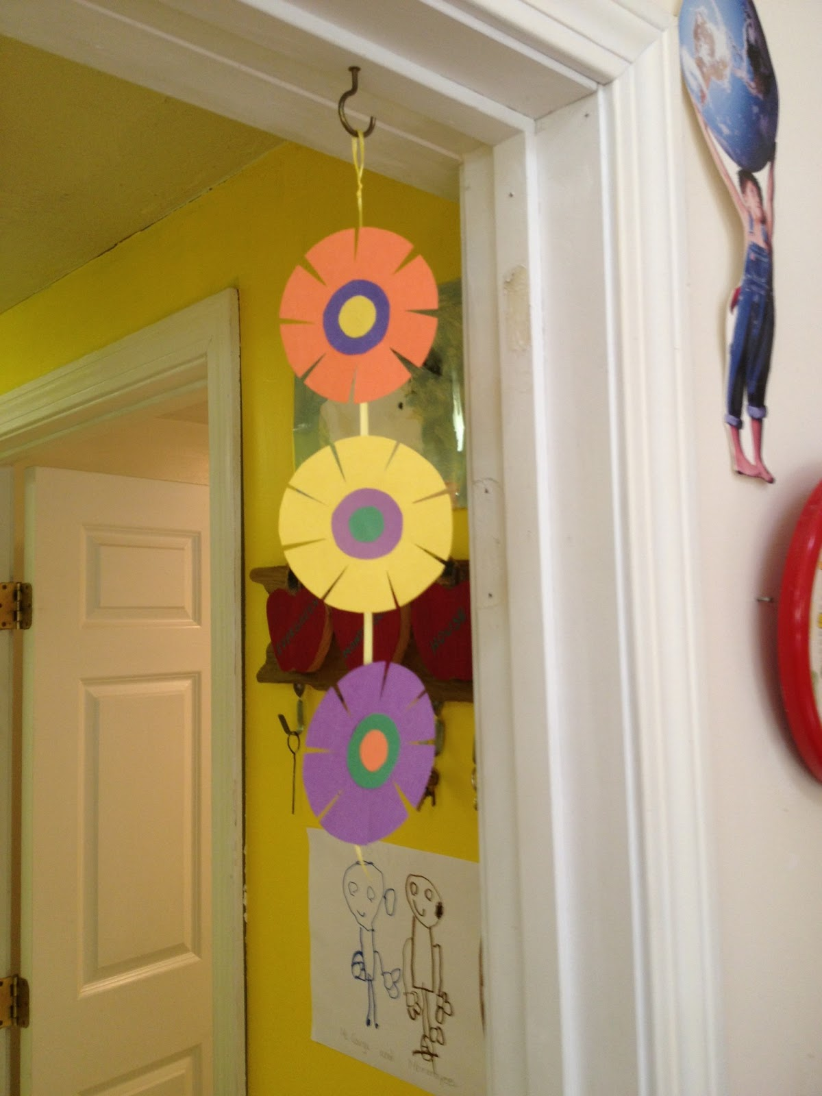 Evergreen montessori house hanging flower decoration for Art and craft decoration