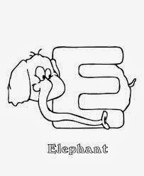 printable alphabet coloring pages elephant