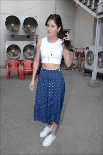 Katrina Kaif Spotted in a very small white Top and Blue Skirt Whtie Shoes Stunning Slim Beauty Katrina Kaif
