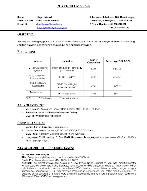 resume by iit bombay  with pictures
