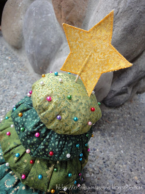 top view of my Christmas Tree Pincushion from Shabby Fabrics