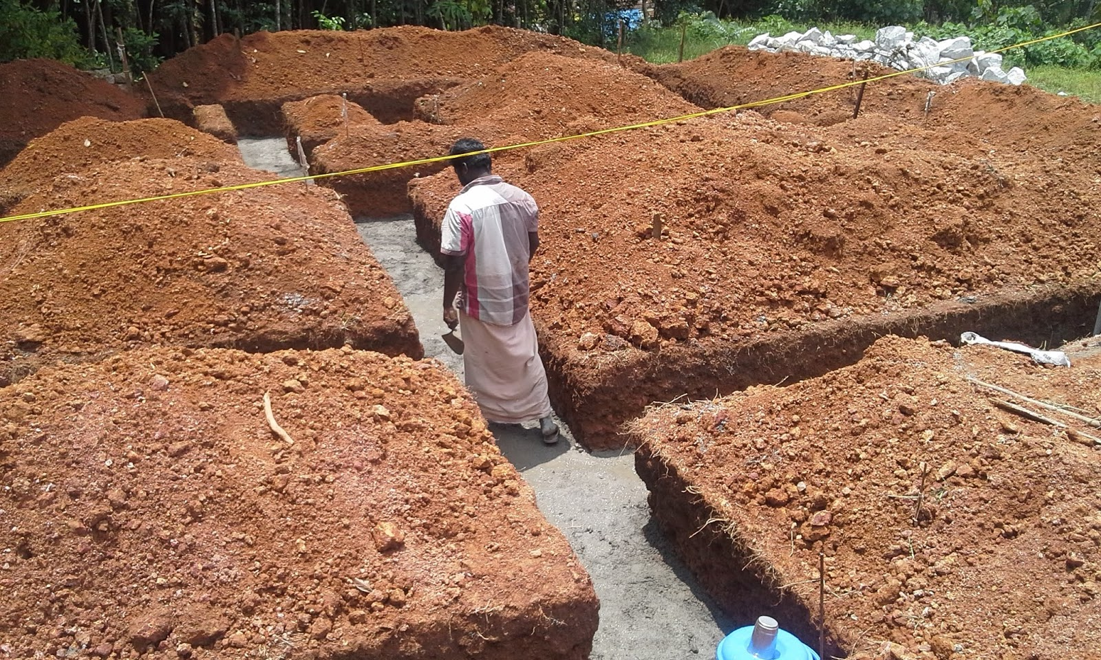 Kerala house construction tips 2 setting out plan and for Digging foundation for house