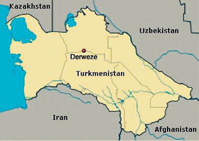 LOKASI Derweze, Turkmenistan.