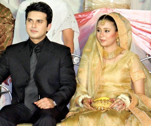 Ali Haider with her wife in his wedding ceremony