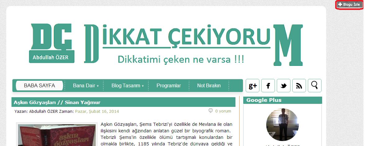 Blogu Takip Et