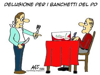 PD, Italia coraggio, piazze, banchetti, satira vignetta