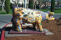 Mosaic cow outside Sonoma City Hall