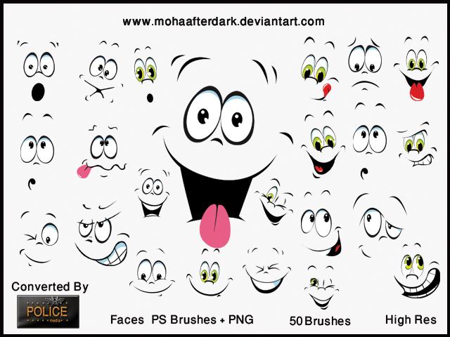 este es un bonito pack de rostros o caras de personajes caricaturescos