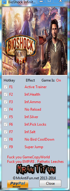 BioShock Infinite Steam Trainer +8 MrAntiFun