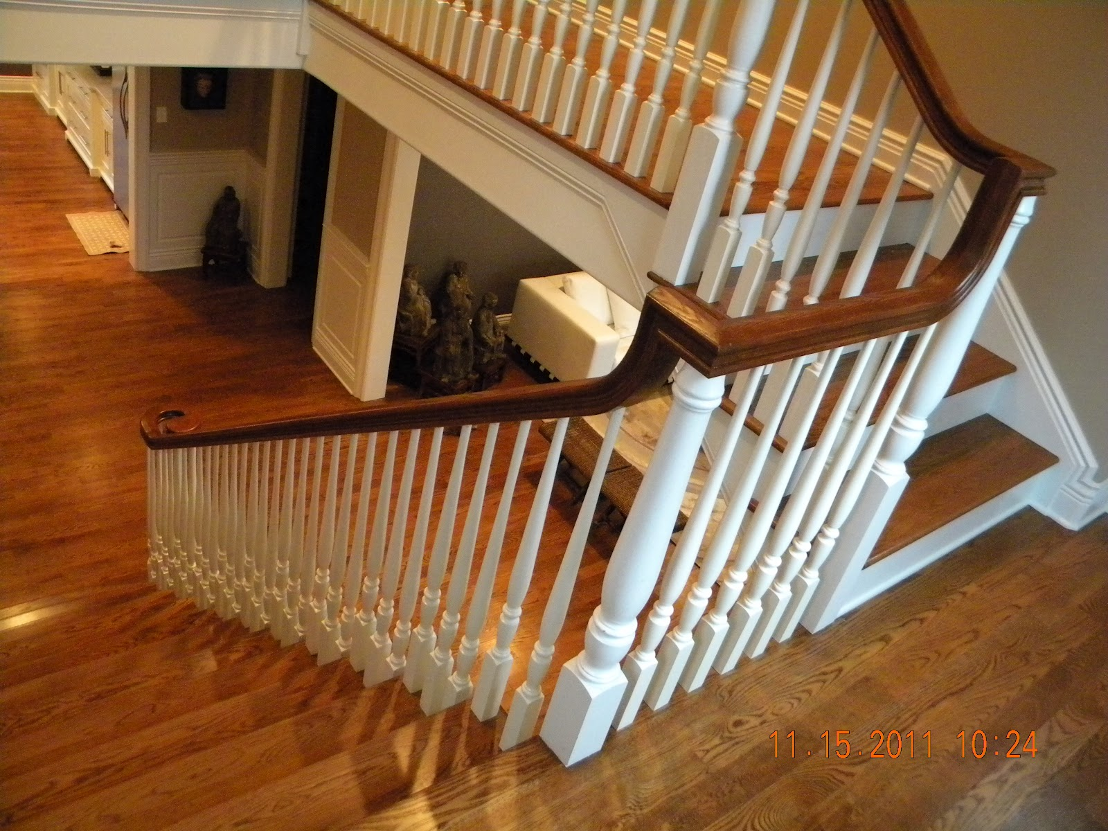 wood stairs and rails and iron balusters may 2012. Black Bedroom Furniture Sets. Home Design Ideas