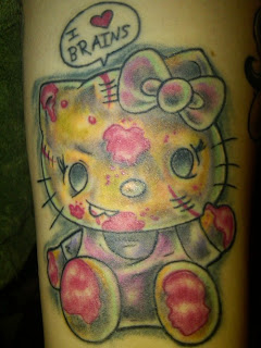 Hello Kitty cute zombie weird tattoo