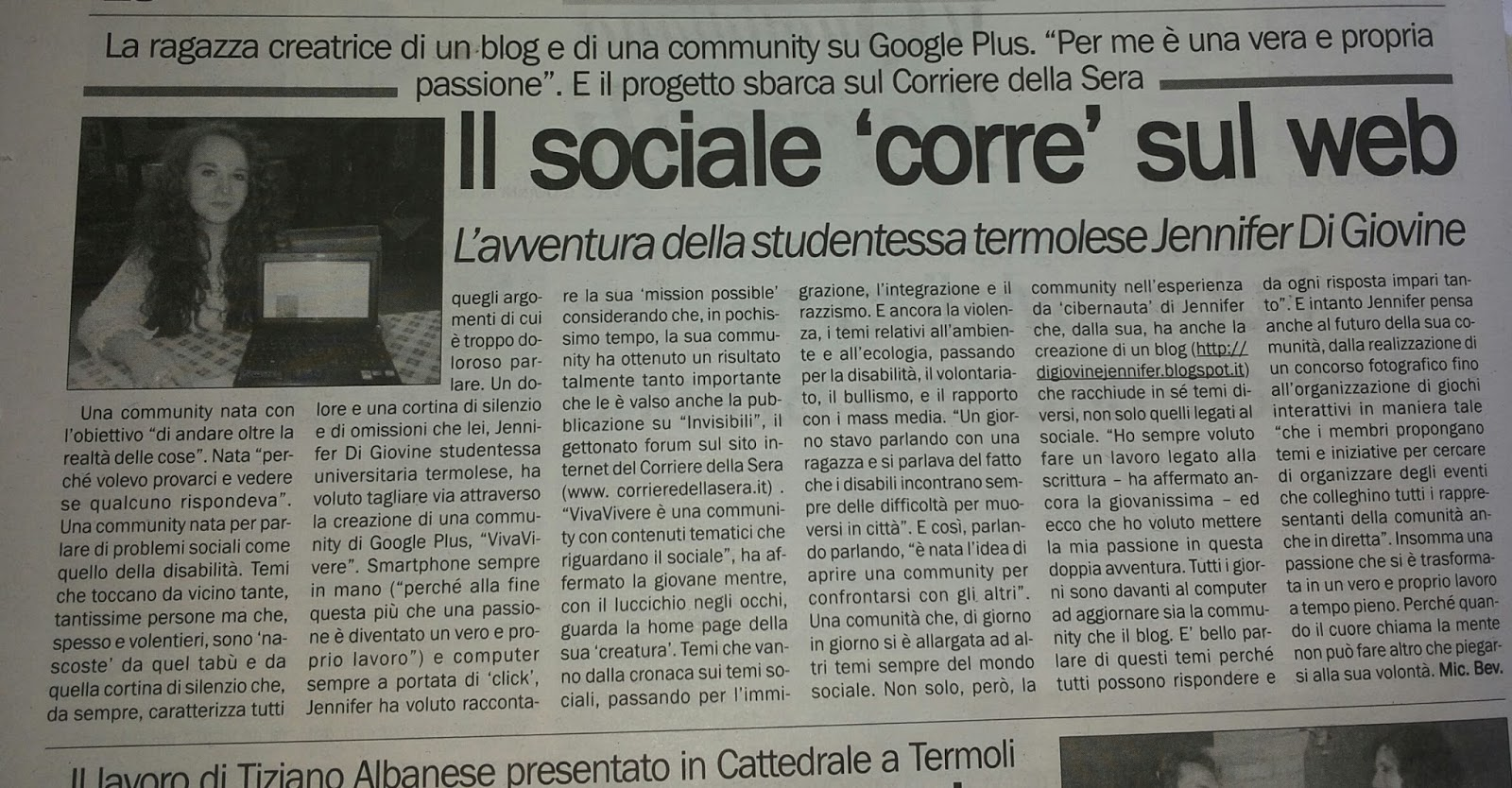 Intervista sul Quotidiano del Molise
