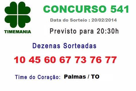 Resultado Timemania 541 , Previsão de Prêmio é de R$ 8.000.000,00