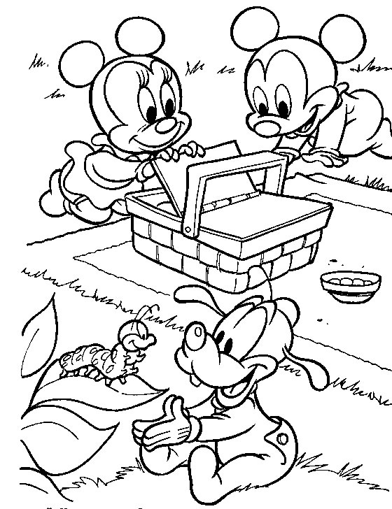 Baby mickey mouse and minnie coloring pages