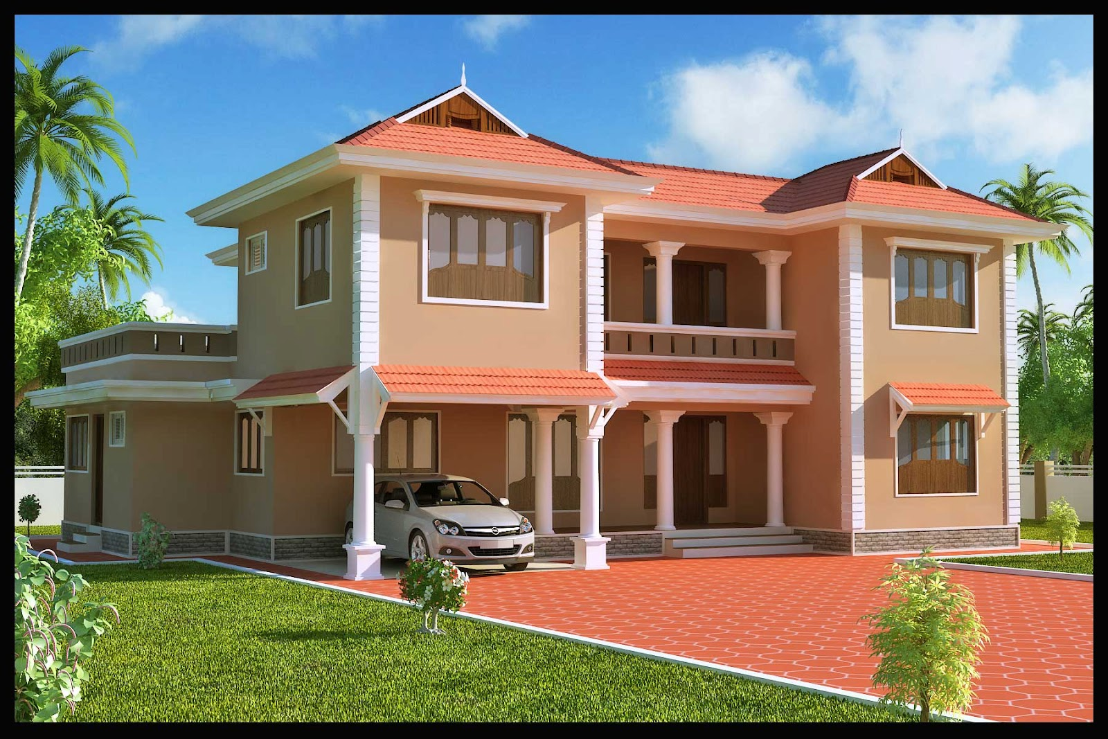 Kerala building construction 4 bhk villa for Exterior design of building