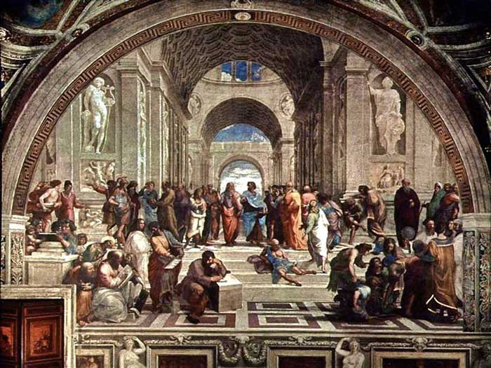 """ภาพวาด """"The School of Athens"""" ของ """"ราฟาเอลโล ซันซิโอ"""""""