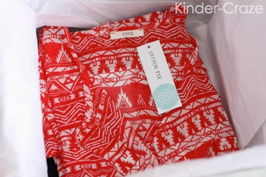 red blouse in stitch fix box