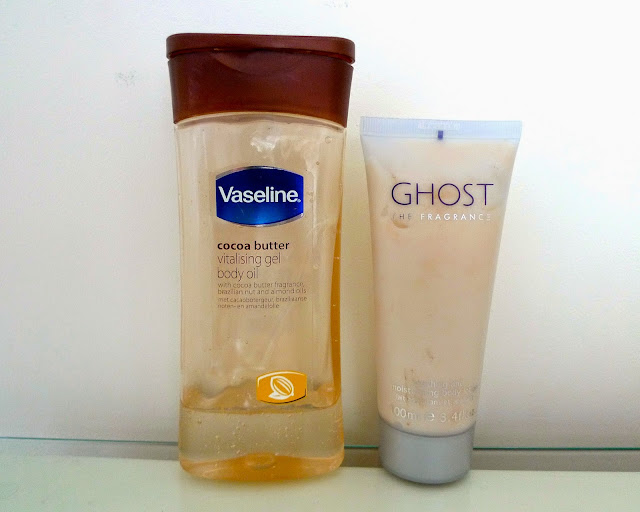 monthly favourites include vaseline body oil and ghost fragrance body lotion