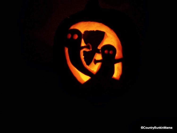 BunkinMama's ghost carved pumpkin