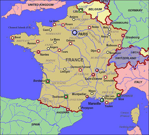 map of france with cities. Map of France Cities images