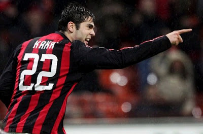 Kaka with the Milan jersey number 22