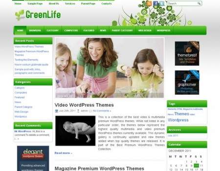 health green wp theme 2012 30 Ücretli Ücretsiz WordPress Teması