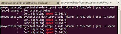 Imagen de cómo identificar en linux que versión del sata tiene cada disco duro