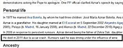 aznar muerte wikipedia