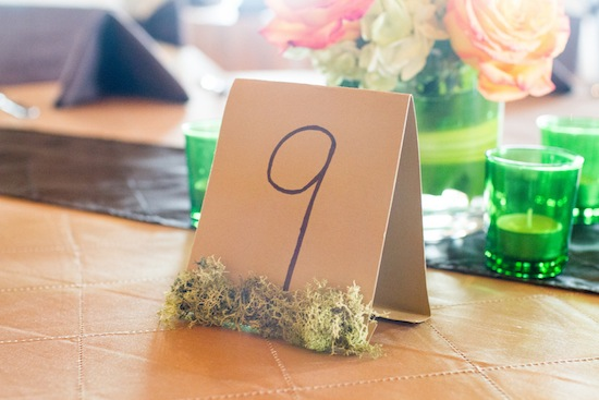 table number with moss border