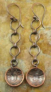 Copper Ladder Chain Earrings