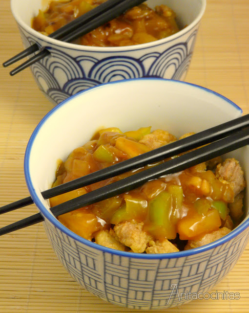 Cerdo agridulce, receta china por una buena causa