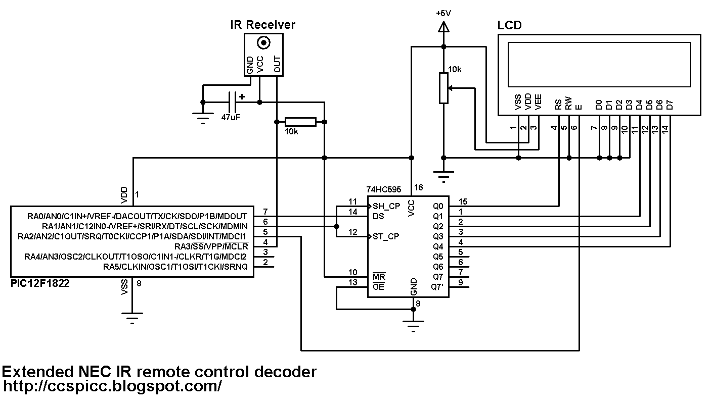 extended nec protocol decoder using pic12f1822 microcontroller