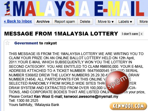 1malaysia email win lottery
