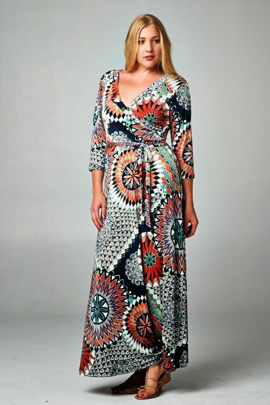 Moda plus size - moda tamanhos grandes maxi-vestido