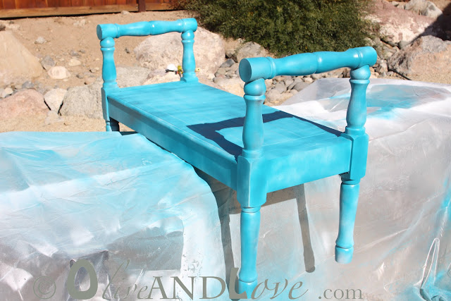 spray painting tutorial wooden bench