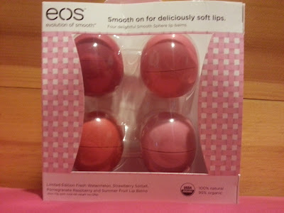 EOS lip balm limited edition set  with fresh watermelon, strawberry sorbet, pomegranate raspberry and summer fruit