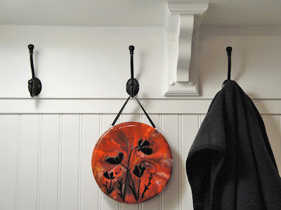 silhouette shadow fused glass stained pot melt black red home decor wall hanging