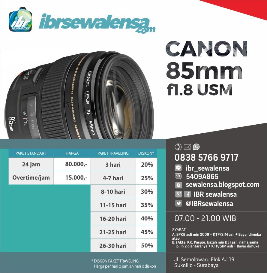 Canon 85 mm F1.8 USM Harga sewa lensa rental kamera
