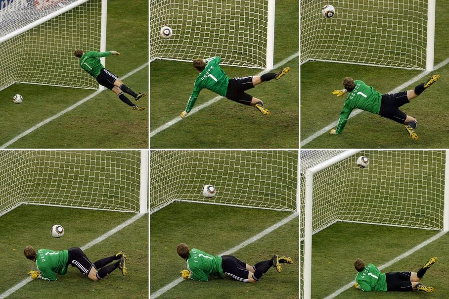 In this June 27, 2010 file photo made from a combination of six photos, Germany's goalkeeper Manuel Neuer looks at a ball that hit the bar to bounce over the line during the soccer World Cup second round soccer match between Germany and England at Free State Stadium, in Bloemfontein, South Africa. On this day: the future use of goal-line technology was effectively sealed after a clear Frank Lampard goal was not given. Germany went on to win the game 4-1.