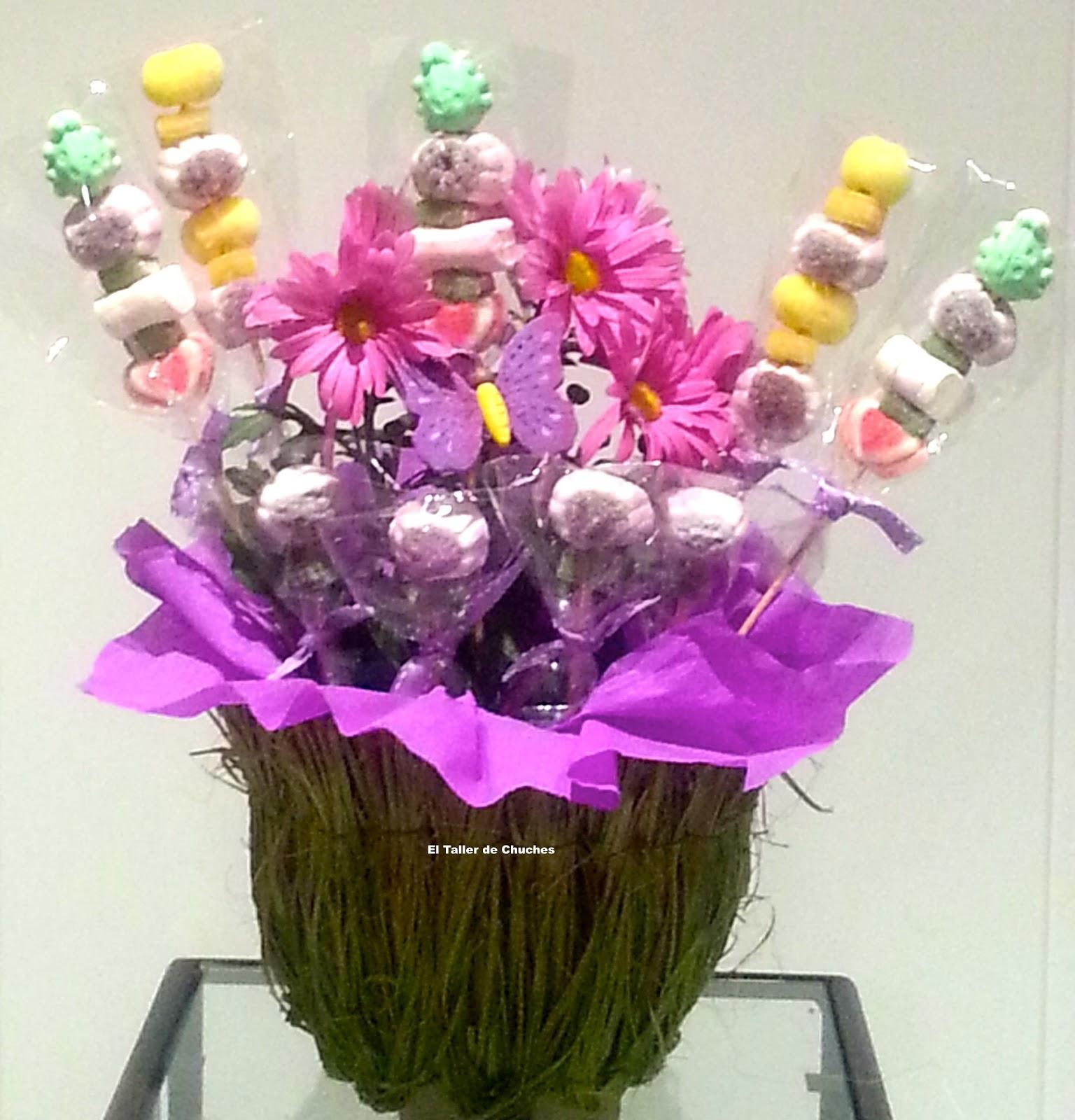 Taller de chuches centros con flores frescas y chuches - Centro de mesa de chuches ...