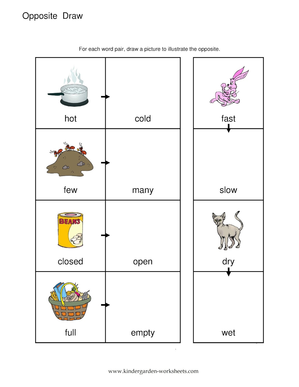 Kindergarten Worksheets: Kindergarten Worksheets- Opposite Words